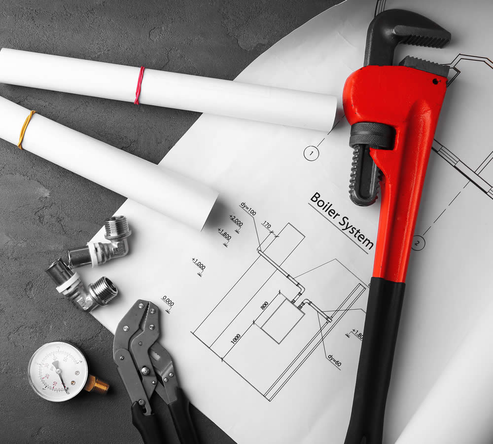 Pipe Wrench & Blueprints